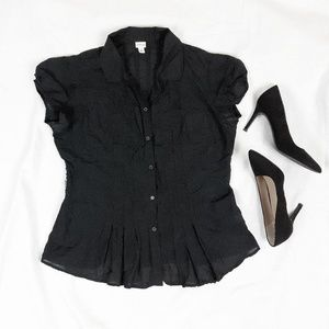 Merona Black Short Sleeved Button Up Blouse